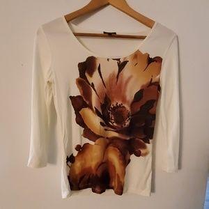 Talbots Long Sleeve Flower Print Blouse